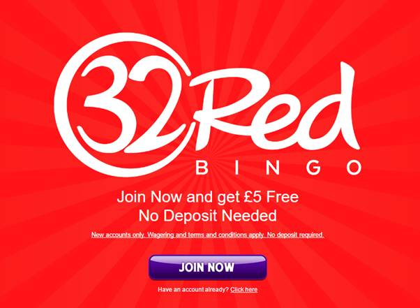 32Red Bingo-Get 5 GBP Free upon Sign up